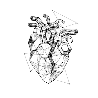 Coração quebrado poligonal dotwork. ilustração em vetor de design de t-shirt de estilo moderno. amo tatuagem esboço desenhado à mão.