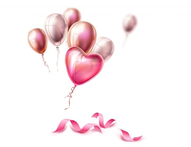 Coração realista forma balão rosa e fita de seda.