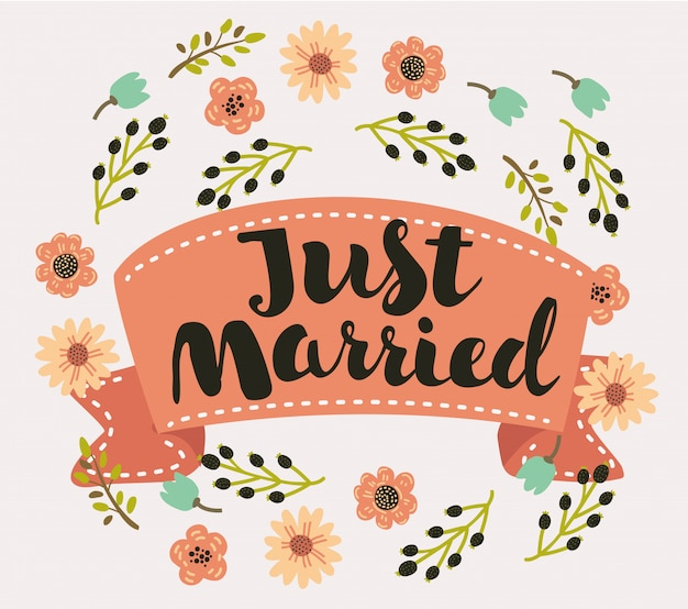 Coração recém casado em forma de tipografia letras texto cartão coração