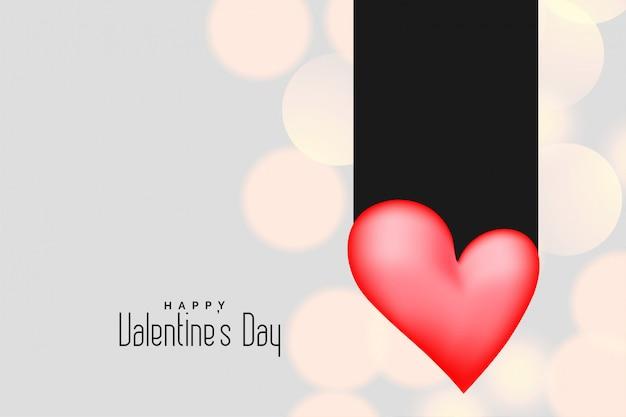 Coração rosa 3d em fundo de bokeh para dia dos namorados