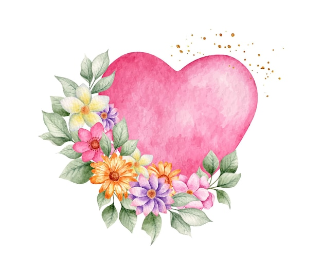 Coração rosa aquarela com flores Vetor Premium