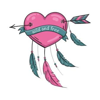 Coração rosa com flecha e penas no estilo doodle