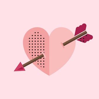 Coração rosa com um ícone de seta do cupido