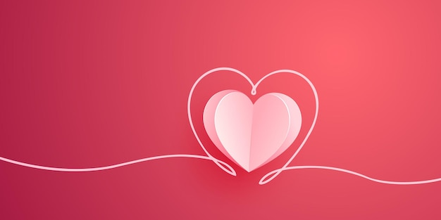 Coração rosa cortado da ilustração de papel. cartão de dia dos namorados.