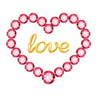 Coração rosa de cristais e amor de inscrição ouro