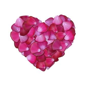 Coração rosa de pétalas