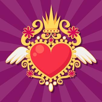 Coração sagrado de desenho de ilustração