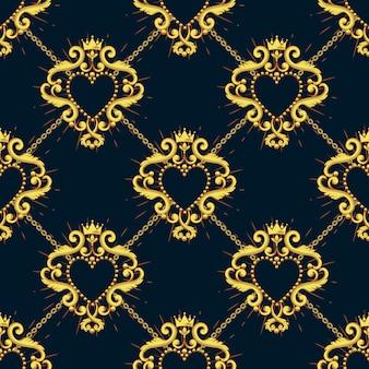 Coração sagrado e corrente de ouro