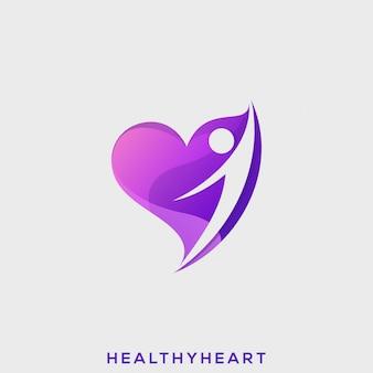 Coração saudável pessoas premium logo