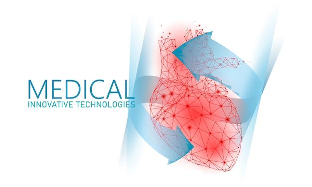 Coração saudável total bate 3d medicina poli baixo conceito.