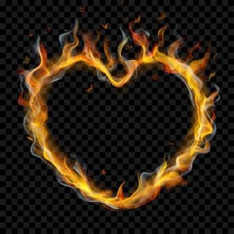 Coração translúcido de chamas de fogo com fumaça em fundo transparente. para uso em cenários escuros. transparência apenas em formato vetorial