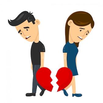 Coração triste jovem rapaz e mulher menina casal separação divórcio.