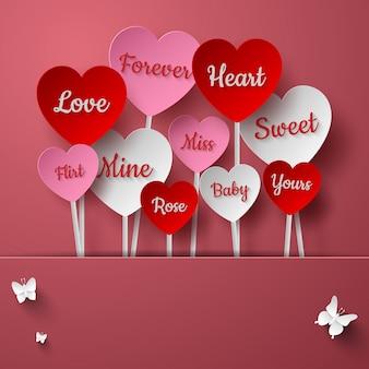 Coração, vara, de, palavras, para, dia valentine