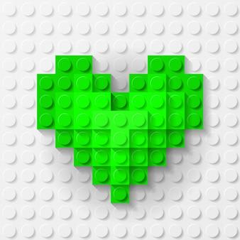Coração verde feito de kit de construção