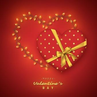 Coração vermelho 3d com laço dourado realista e coração de guirlanda, texto de brilho.