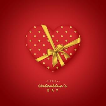Coração vermelho 3d com laço dourado realista.