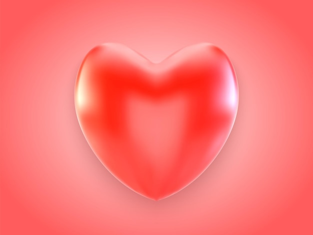 Coração vermelho 3d com sombra isolada em fundo vermelho