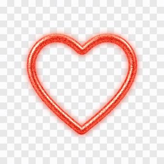 Coração vermelho 3d com textura glitter isolada