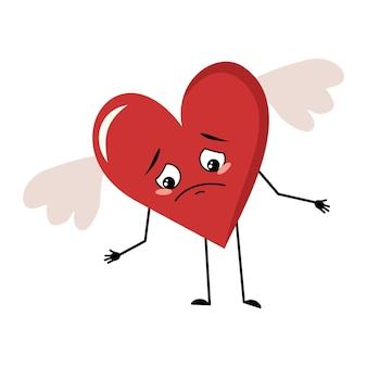 Coração vermelho bonito personagem com asas e emoções tristes deprimido face para baixo olhos, braços e pernas festivas ...