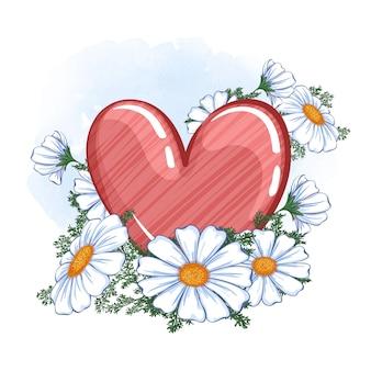 Coração vermelho brilhante com textura listrada e um buquê de margaridas do campo