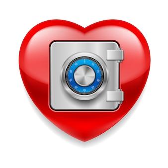 Coração vermelho brilhante como um seguro