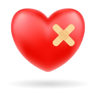 Coração vermelho com bandagem no fundo branco