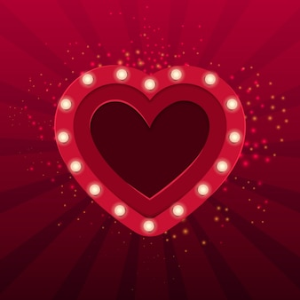 Coração vermelho com lâmpadas