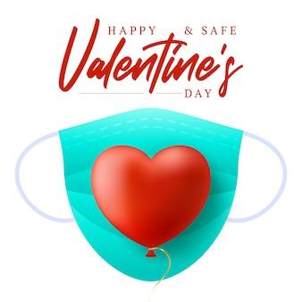 Coração vermelho com máscara médica azul. feliz e seguro dia dos namorados