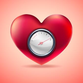 Coração vermelho com medidor de combustível, indicador de coração de amor