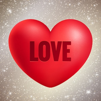 Coração vermelho com texto de amor no brilho brilhante