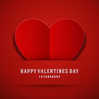 Coração vermelho de papel dia dos namorados cartão fundo ilustração vetorial