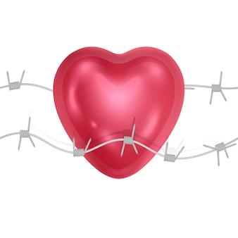 Coração vermelho e pontas