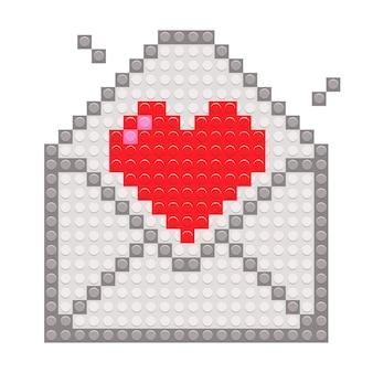 Coração vermelho em envelope com brinquedo de blocos de tijolo de pixel.