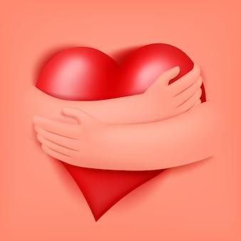 Coração vermelho em mãos humanas. cartão de modelo de abraços