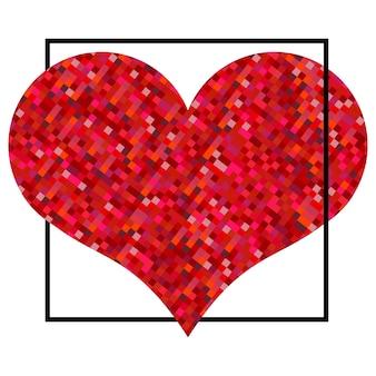 Coração vermelho feito de pixels no quadrado preto. plano de fundo dia dos namorados em um fundo branco. símbolo do elemento de amor para o modelo de casamento.