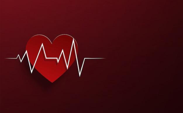 Coração vermelho papercut e fundo vermelho sombra