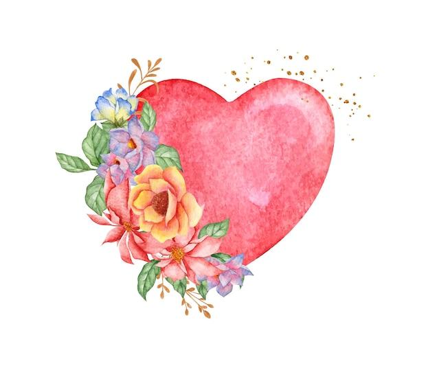 Coração vermelho romântico com flores coloridas