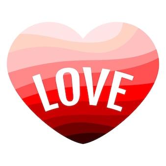 Coração vermelho sobre fundo branco com uma inscrição love. ilustração vetorial.