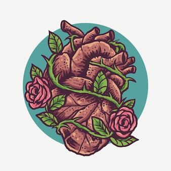 Coração vintage e rosas gravam ilustração do estilo dos desenhos animados