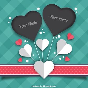 Coração vintage photo frame em forma