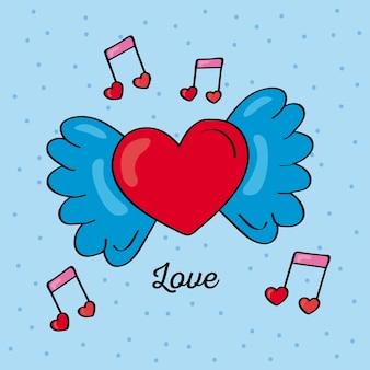 Coração voando e notas