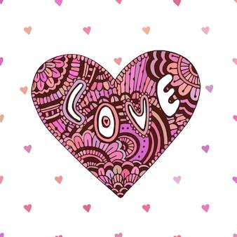 Coração zentangle criativo com texto love. cartão bonito do dia dos namorados. arte vetorial para férias