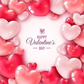 Corações 3d do dia dos namorados
