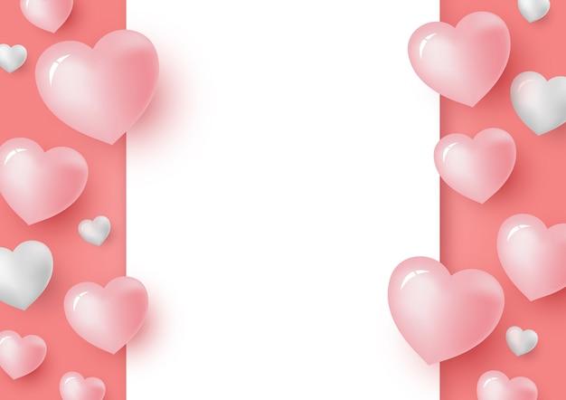 Corações 3d e papel branco em branco sobre fundo de cor coral