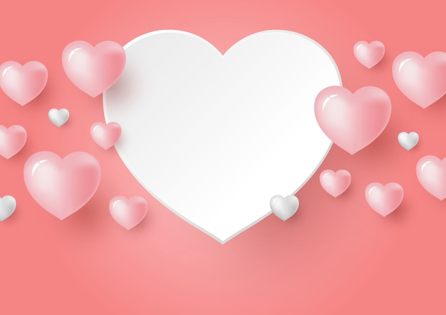 Corações 3d em fundo de cor coral para o dia dos namorados
