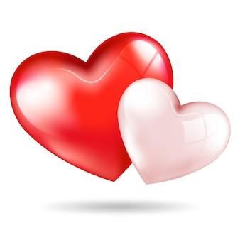 Corações 3d rosa vermelhos bonitos