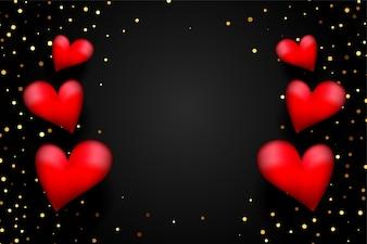 Corações 3d vermelhas com confete dourado em fundo preto