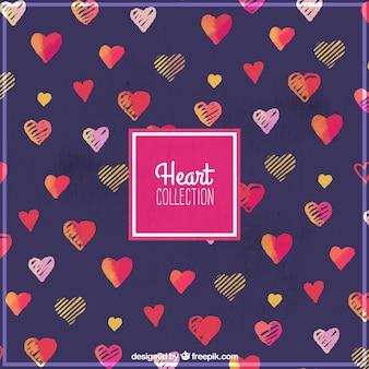 Corações aguarela bonito fundo