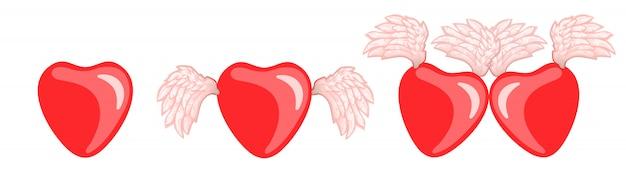 Corações ajustados do vetor com as asas para o dia de valentim.