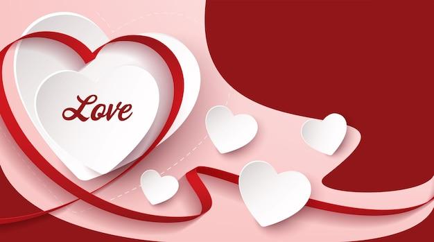 Corações amam o fundo. desenho de banner de vetor